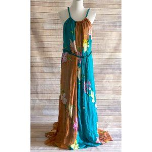 Miss Me Couture Teal Floral Silk Maxi Dress Size L
